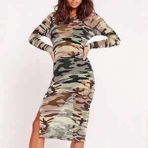 Camo Mesh Long Sleeve Split Side Midi Dress Green